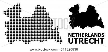 Dot Map Of Utrecht Province Composition And Solid Illustration. Vector Map Of Utrecht Province Compo