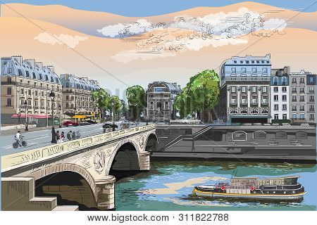 Colorful Vector Hand Drawing Illustration Of Pont Saint Michel Bridge, Landmark Of Paris, France. Ci