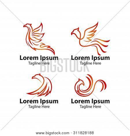 Phoenix Bird Logo Concept. Vector Logo Bird. Creative Logo For Mythological Bird. A Unique Bird , A