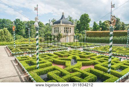 Hamilton, New Zealand - December 08 2017 : Tudor Garden Mythical Beasts In Hamilton Gardens An Iconi