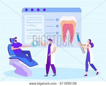 Doctor Dentist Gives Snapshot Tooth To Patient. Distance Learning. Woman With Tool. New Technologies