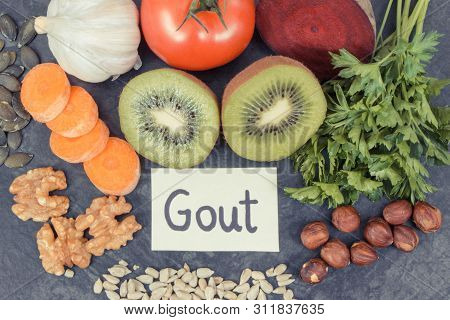 Best Nutritious Food For Kidneys Health And Gout Inflammation. Concept Of Healthy Eating As Source N