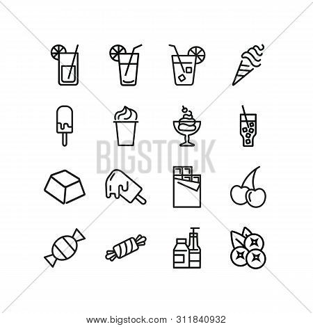 Sugary products line icon set. Soda, lemonade, ice cream, chocolate, candy, fruit, sweets. Food concept. Can be used for topics like confection, unhealthy diet, addiction poster