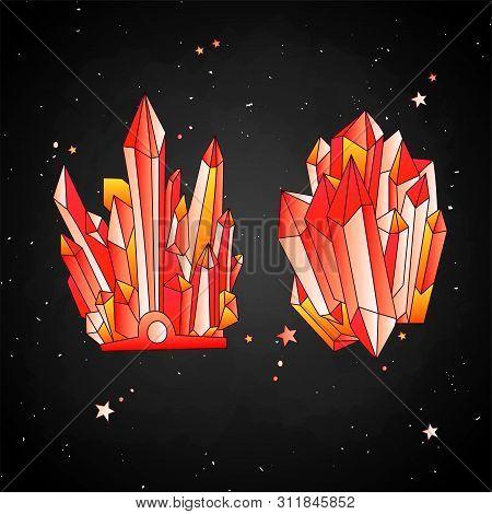 Red Crystal, Cartoon Cute Vector Quartz Illustration. Quartz Crystal Crown And Crystal Druse, Red Gr