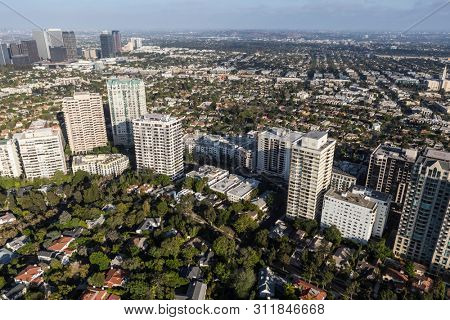 Aerial view of condos, apartments and houses along Wilshire Blvd near Century City in Los Angeles, California.
