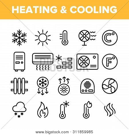 Heating And Cooling System Vector Linear Icons Set. Heating And Cooling Air Conditioning Outline Sym