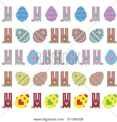 Easter Eggs And Bunnies Seamless Stripes