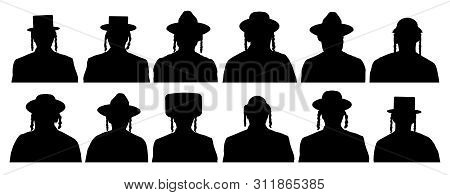Audience Of God's Chosen People. Jewish Head Profile Avatar Icons. People Portrait Israelite. Silhou