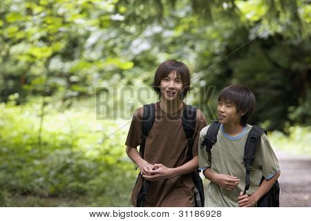 Portrait of brothers hiking