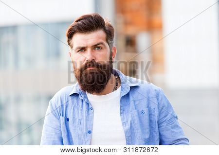 A Hair Salon For Men. Bearded Man Outdoor. Mature Hipster With Beard. Bearded Man. Confident And Han