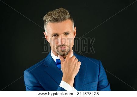 Something On His Mind. Gentleman Hipster Hairstyle. Barber Shop Concept. Beard And Mustache. Guy Wel