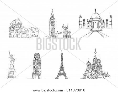Famous Places Of World - Coliseum And Eifel Tower, Big Ben And Taj Mahal, Statye Of Liberty And Lean