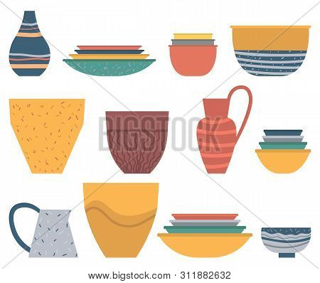 Dishware Set, Colorful Plate And Bowl, Ceramic Vase And Jar On White. Rustic Or Homemade Pot And Sou