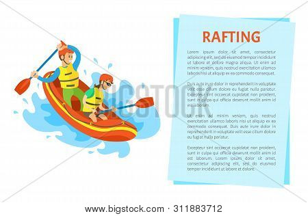 Rafting Extreme Sport Postcard Decorated By Man And Woman Sitting On Inflatable Rubber Boat, Holding