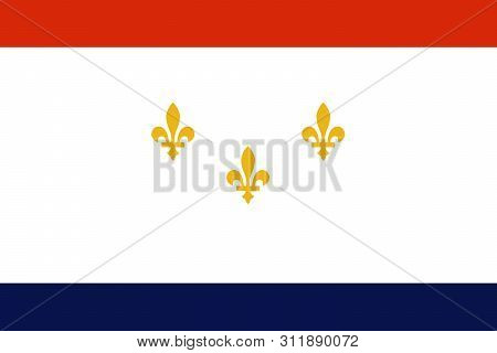 Flag Of New Orleans, Louisiana, United States Of America. Three Gold Fleur-de-lis On White Field. Ve