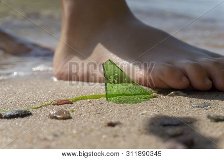 Danger Of Broken Glass On A Beach With A Close Up View Of A Shard Of Green Glass Protruding From The