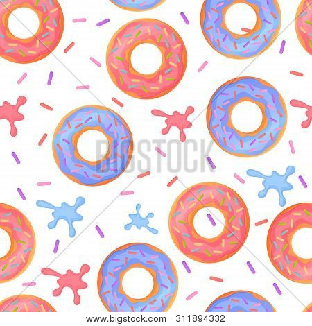 Sweet Colorful Baked Glazed Donuts Or Doughnuts Seamless Pattern With Sprinkles And Splashes