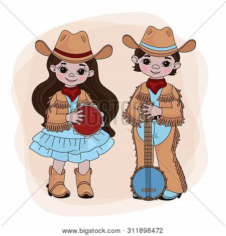 Cowgirl Cowboy Western Country Music American Festival Cartoon Vector Illustration Set For Print Fab