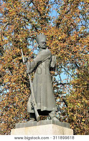 Bila Tserkva/ukraine - September 15, 2018. Monument To The Grenadiers Of The 2nd Kiev Cossack Regime