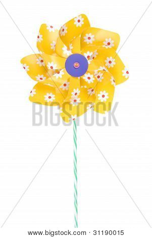 Yellow pinwheel with daisy flowers on white background. Clipping path included.