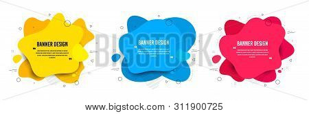 Abstract Vector Banners. Geometric Liquid Forms. Template Bagdes. Modern Design. Dynamic Fluid Banne