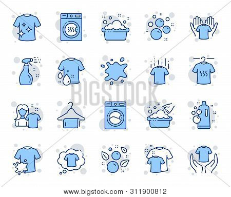 Laundry Line Icons. Dryer, Washing Machine And Dirt Shirt. Laundromat, Hand Washing, Soap Bubbles In