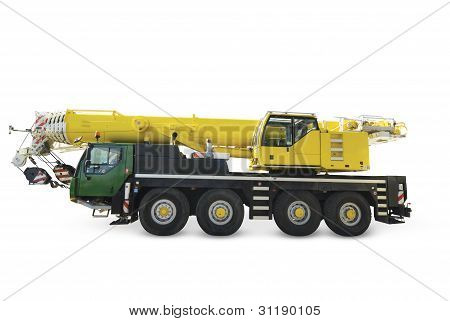 Mobile crane on white background isolated with clipping path.