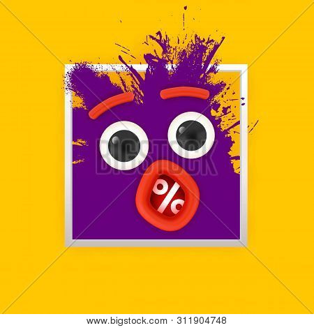 Persent Sale Symbol Ink Splash Monster Face With Eyes And Open Mouth Looking On Yellow Background. D