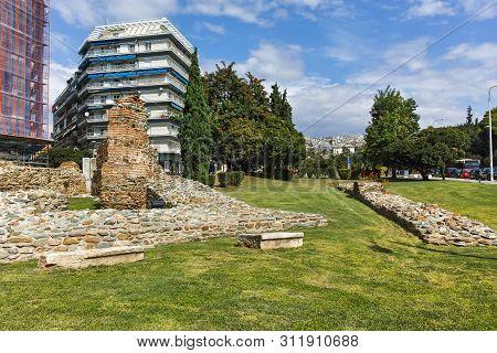 Thessaloniki, Greece - September 30, 2017: Ruins Telli Kapi In The Center Of City Of Thessaloniki, C