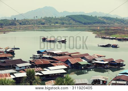 Traditional Country Side Of Village On Water At Sangklaburi, Kanchanaburi, Thailand, Unseen Many Woo