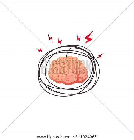 Brain Stress, Angry Concept. Stress Affecting Human Brain, Internal Organ Stressed With Outside Fact