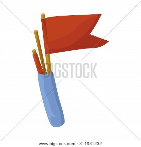 Isolated Object Of Flag And Pennant Logo. Set Of Flag And Naval Stock Symbol For Web.