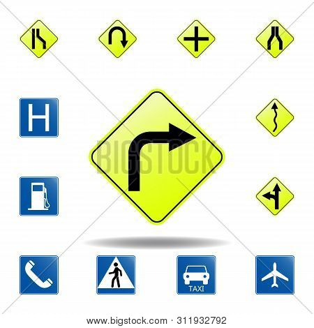 Right Bend Icon. Set Of Road Signs Icon For Mobile Concept And Web Apps. Colored Right Bend Icon Can