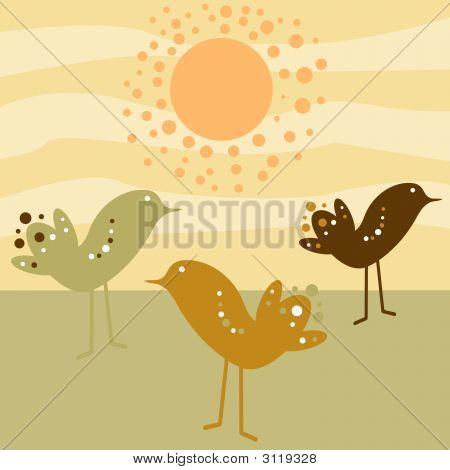 Retro style circle birds standing in the sun poster