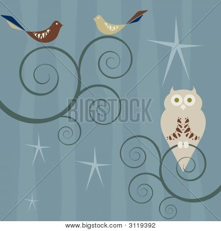 Vector image of a retro style flock of birds and an owl sitting on swirly trees poster
