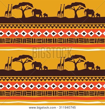 African Art Seamless Pattern. Africa Landscape With Animals And Traditional Tribal Style Decoration