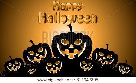 Flicker Pumpkin For Halloween, Vector Art Illustration.