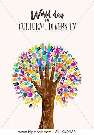 Cultural Diversity Day Poster Illustration. Tree Made Of Human Hand Prints Together For Love And Pea