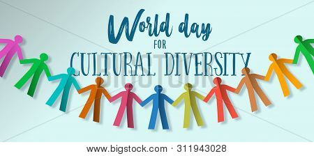 Cultural Diversity Banner Illustration Card Of Human People Team Paper Garland  For Social Freedom A