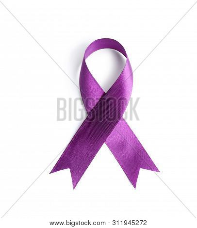 Purple Awareness Ribbon On White Background, Top View