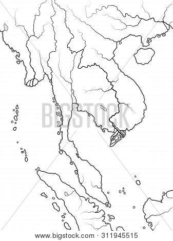 World Map Of Indochina: South Asia, Indochinese Peninsula, Thailand, Vietnam, Siam, Laos, Singapore,