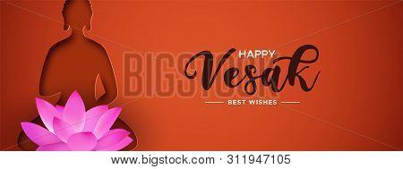Happy Vesak Day illustration for hindu holiday celebration. Papercut buddha silhouette with pink lotus flower. poster