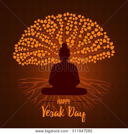 Happy Vesak Day Card Illustration For Traditional Hindu Holiday. Buddha Statue Silhouette On Gold Bo