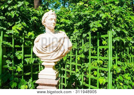 St Petersburg, Russia - June 6, 2019. The Sculpture Of Julius Caesar - Roman Politician, Military Ge