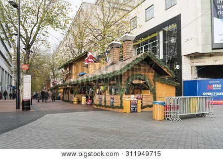 Birmingham, Uk, November 2018 - Wooden Stalls Of The German Xmas Market In Birmingham, Uk