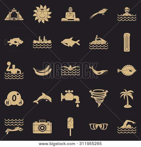 Plunge Icons Set. Simple Set Of 25 Plunge Icons For Web For Any Design