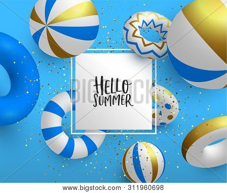 Hello Holiday Summer Greeting Card Sign Template. Luxury Gold Color Pool Party Decoration In 3d With