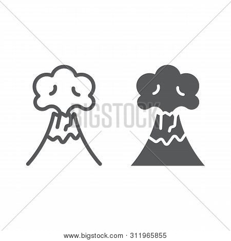 Volcanic Eruption Line And Glyph Icon, Disaster And Explosion, Volcano Erupting Sign, Vector Graphic