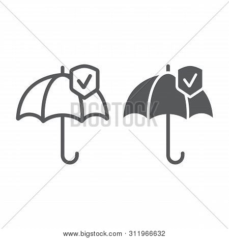 Reliability Line And Glyph Icon, Protection And Reliable, Umbrella Sign, Vector Graphics, A Linear P