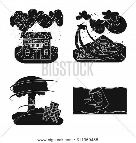 Vector Design Of Calamity And Crash Logo. Collection Of Calamity And Disaster Stock Vector Illustrat